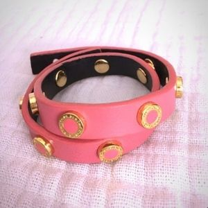 Tory Burch Double-Wrap Stud Bracelet in Pink